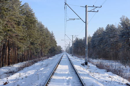 forest railroad: Frosty railway Stock Photo