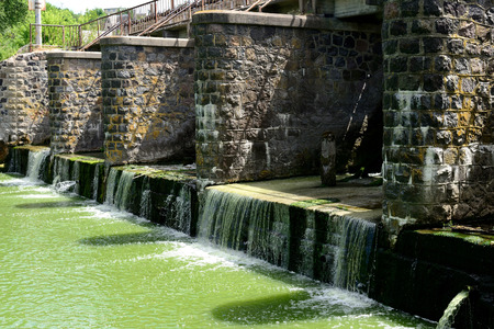spillway: Flow of water on the stone dam