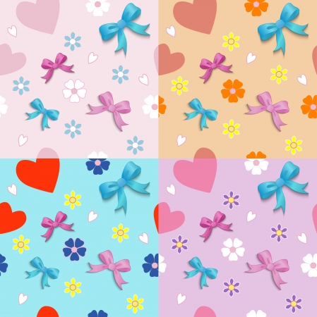 Seamless pattern of hearts bows and flowers Vector