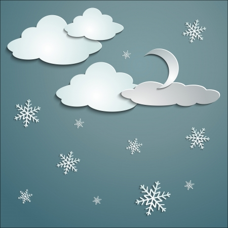 slush: blue sky, white snow clouds, paper stickers cast shadows winter and moon