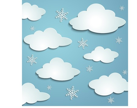 slush: blue sky, white snow clouds, paper stickers cast shadows winter