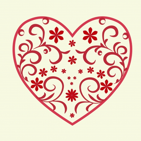 Lace heart with patterns and flowers on a white background Illustration