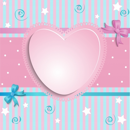 violets: card with a pink heart on a blue background with a place for an inscription
