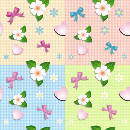 Naadloos patroon van harten strikken en bloemen op bed plaid achtergrond Stock Illustratie