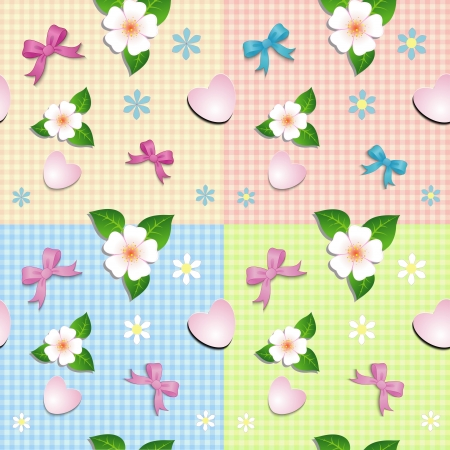 Seamless pattern of hearts bows and flowers on bed plaid background
