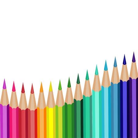 kleurpotloden liggen in een rij op een witte achtergrond