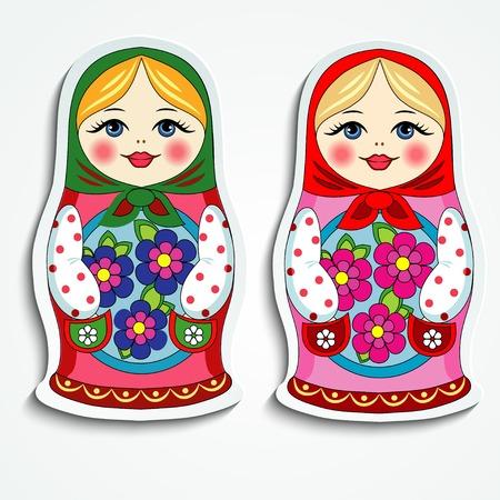 mu�ecas rusas: Mu�eca rusa divertido juguete recuerdo etiqueta de papel sobre un fondo blanco