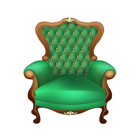 upholstered: beautiful chair with a beautiful upholstered in green on a white background, antiques Illustration