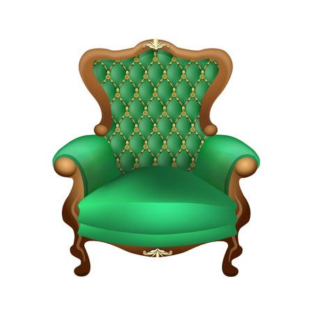 trono: hermosa silla con un hermoso tapizado en verde sobre un fondo blanco, antigüedades