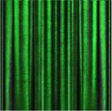 Beautiful old green curtain with pleats drapes scuffed, old cloth material