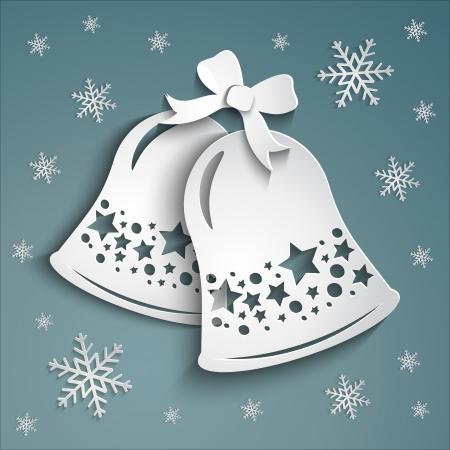 campanas de navidad: Alarmas de la Navidad pegatinas de papel en un fondo hermoso invierno con copos de nieve blanca con.
