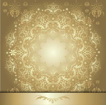 beautiful gold pattern on a dark golden  background with vegetable element swirls and flowers.  Vector