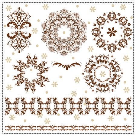 Beautiful calligraphic patterns set with repetition and floral designs on a white background.