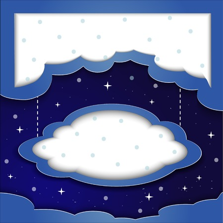 flying stars: Vector blue background with clouds and the stars with space for text beautiful night Illustration