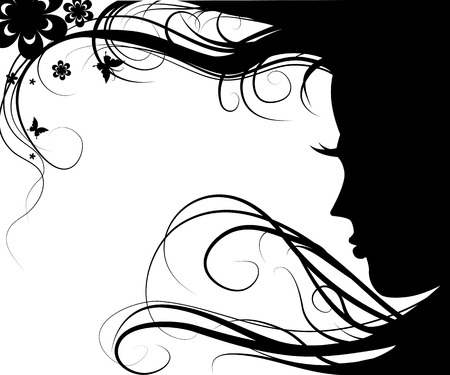 Background with silhouette beautiful girl with beautiful flowers and butterflies   Vector