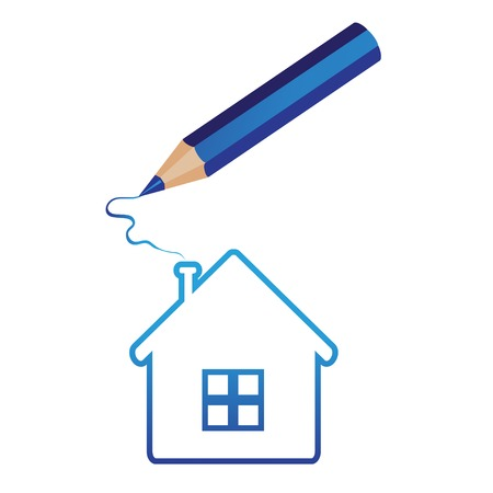 house hand-drawn for ecological or real estate concepts. pencil draws the house on white background .  Vector illustration. Stock Vector - 24476524