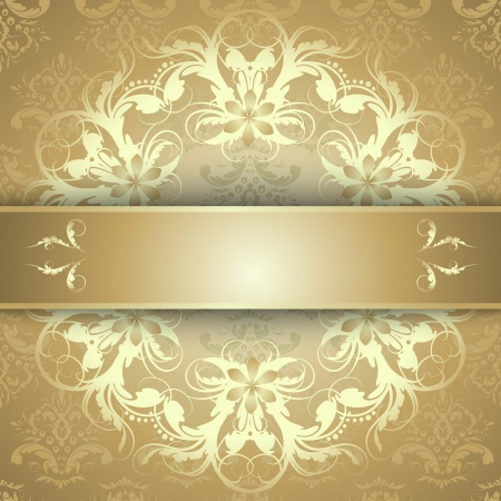 Elegant golden ornate background with lace seamless ornament for invitations, greeting card, menu. Floral elements, place for text.  Vector