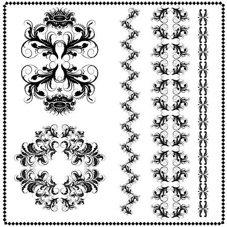 vector vintage design elements, retro seamless  brushes included Illusztráció