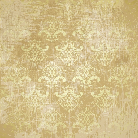 damask background: great retro background of some old dirty and grungy wallpaper Illustration