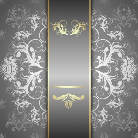 Elegante sierlijke achtergrond met kant naadloze ornament voor uitnodigingen, wenskaart, menu. Bloemen elementen, plaats voor tekst. Stock Illustratie