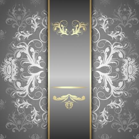 Elegant sierlijke achtergrond met kant naadloze ornament voor uitnodigingen, wenskaart, menu. Bloemen elementen, plaats voor tekst. Stockfoto - 24476597