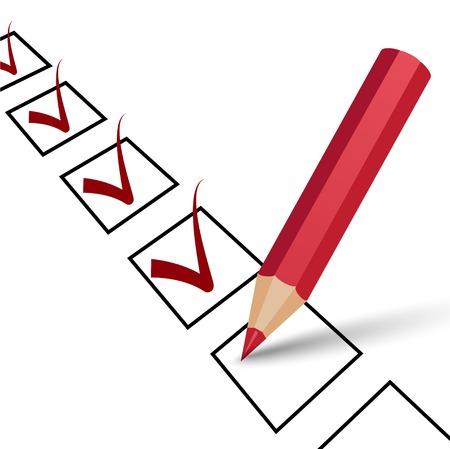 evaluation: ok Zeichen mit rotem Bleistift, roten Haken auf einem wei�en Illustration