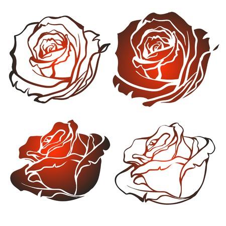mazzo di fiori: Set di sagome di rose su sfondo bianco. Illustrazione vettoriale. Vettoriali