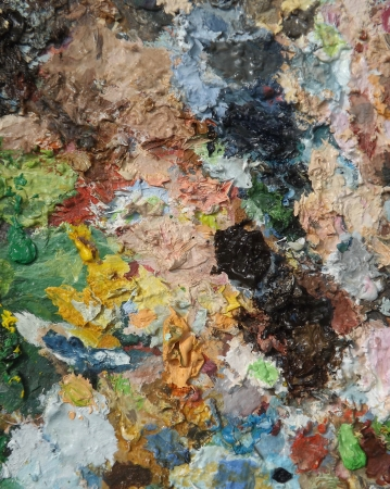 oilpaint: Image of oil-paint palette, mixing paints background
