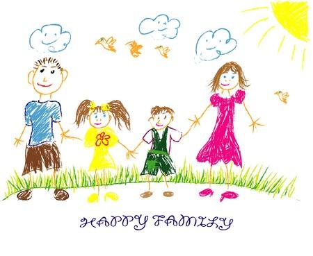 dessin enfants: famille heureuse illustration  vecteur. L'enfant dessine sa famille