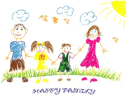 children drawing: happy family illustrationvector. Child draws his family