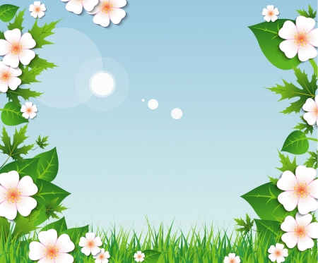 Spring background with green grass and leaves, flowers on blue sky Illustration