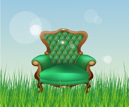 upholstered: antique luxury chair with wooden legs and upholstered in green Illustration