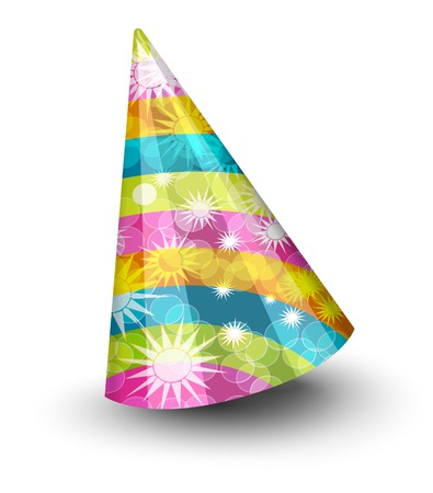 Party hat with stripes and stars on white background Ilustração