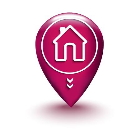 Home Kaart Locatie pictogram geïsoleerd op wit
