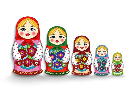 muñecas rusas: Muñecas anidadas en un fondo blanco