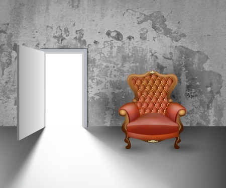 Light Open Door in White Wall with shadow and Armchair on grunge background Illustration