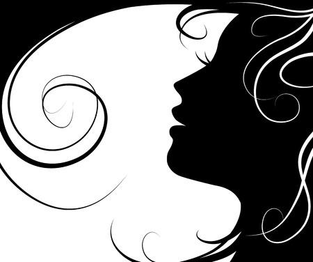 retratos: Silhueta vetor Fundo menina bonita e cabelo voando sobre fundo branco