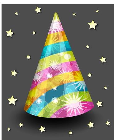 jest: protezione del cappello per feste con stelle e scintille su uno sfondo scuro