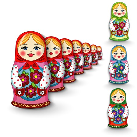 muñecas rusas: Muñeca rusa divertido recuerdo de juguete sobre un fondo blanco Vectores