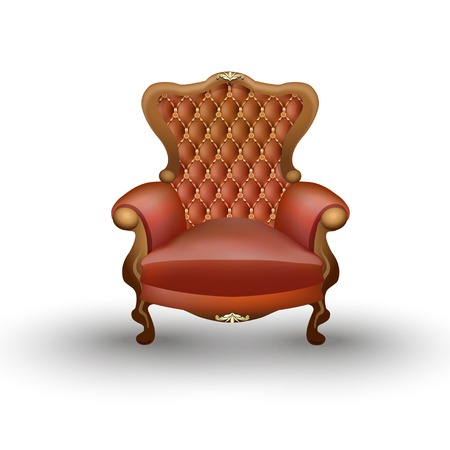 Old styled brown vintage armchair isolated on white background, antique furniture Vector