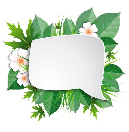 declare: green leaves, flowers, cloud thinking on white background Illustration