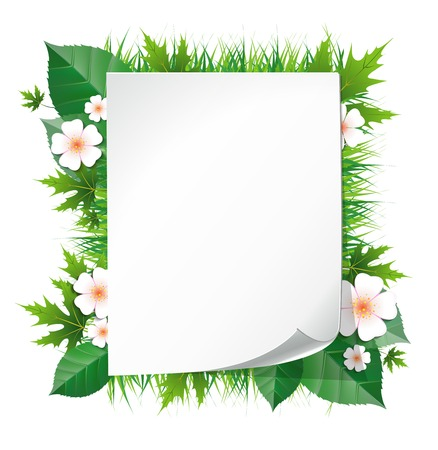 white leaf frame illustration with flowers Vector
