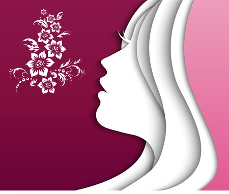beautiful girl head. vector Illustration
