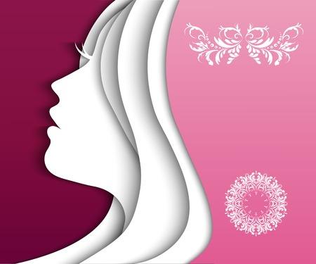 long hair woman: Moda ni�a con un cabello hermoso Vectores