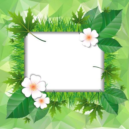 Verse groene bladeren op natuurlijke achtergrond. vector illustratie Stock Illustratie