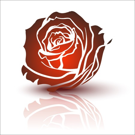 love rose: Red Rose, vector Vectores