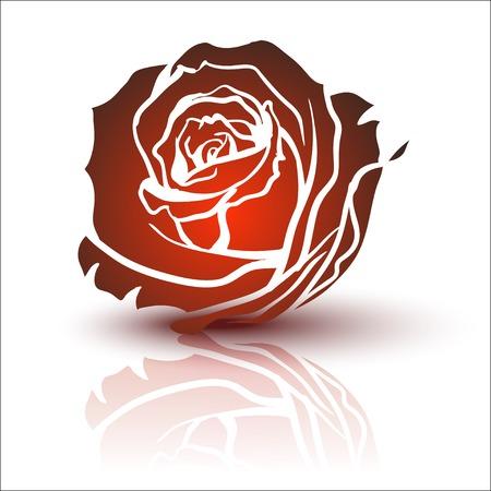 rose tattoo: Red Rose, vector Illustration