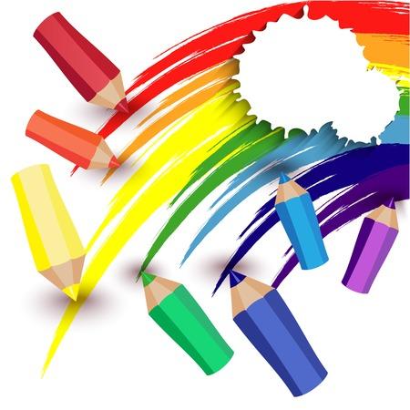 Kleurpotloden en een regenboog op een witte achtergrond