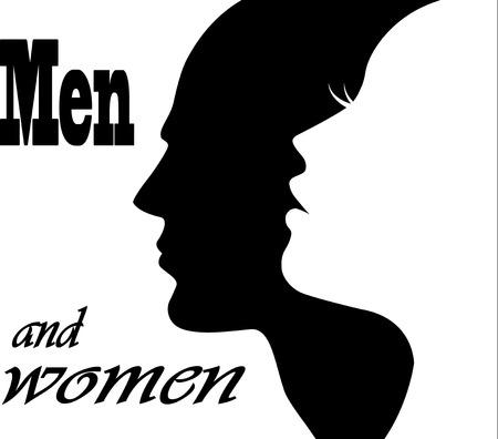 belleza masculina: la cara del hombre y la mujer Vectores