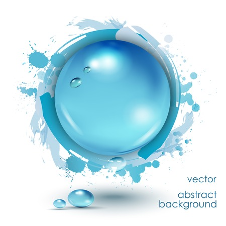 Water drops blue, vector background.